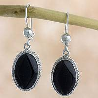 Black jade dangle earrings, 'Ya'ax Chich Mystique' - Black Jade Earrings Sterling Silver Artisan Jewelry
