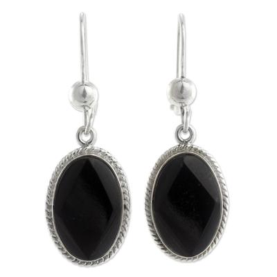 Black jade dangle earrings, 'Ya'ax Chich Mystique' - Black Jade Earrings Sterling Silver Artisan Jewelry