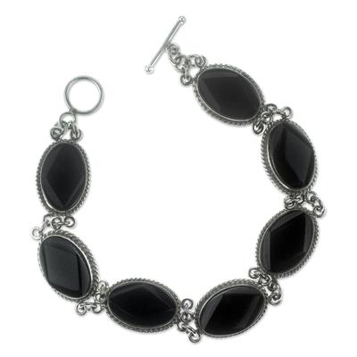 Black jade link bracelet, 'Ya'ax Chich Mystique' - Black Jade Bracelet Sterling Silver Artisan Jewelry