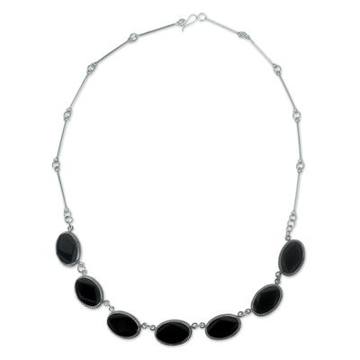 Black jade pendant necklace, 'Ya'ax Chich Mystique' - Black Jade Bracelet Sterling Silver Artisan Jewelry