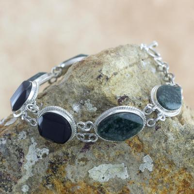 Jade link bracelet, 'Ya'ax Chich Duality' - Black  and Green Jade Bracelet Silver Artisan Jewelry