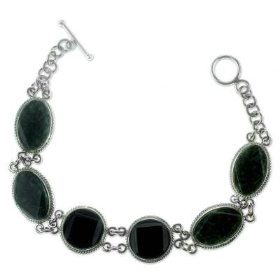 Black and Green Jade Bracelet Silver Artisan Jewelry