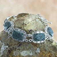 Jade link bracelet, 'Zinnia' - Artisan Crafted Jade and Sterling Silver Bracelet