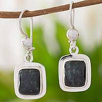 Jade dangle earrings, 'Elegant Heritage' - Artisan Crafted Jade and Sterling Silver Earrings