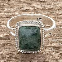 Jade cocktail ring, 'Life Divine' - Guatemalan Jade and Sterling Silver Ring
