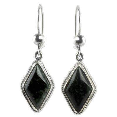 Jade dangle earrings, 'Dark Diamond' - Guatemalan Dark Green Jade Earrings