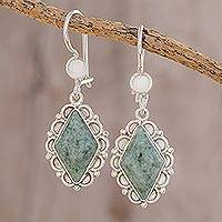 Jade dangle earrings, 'Diamond Dahlia' - Handcrafted Jade Drop Earrings from Guatemala