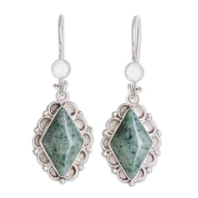 Jade dangle earrings, 'Diamond Dahlia' - Guatemalan Light Green Jade Earrings