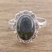 Jade cocktail ring, 'Dark Dahlia' - Guatemalan Hand Crafted Dark Green Jade Ring