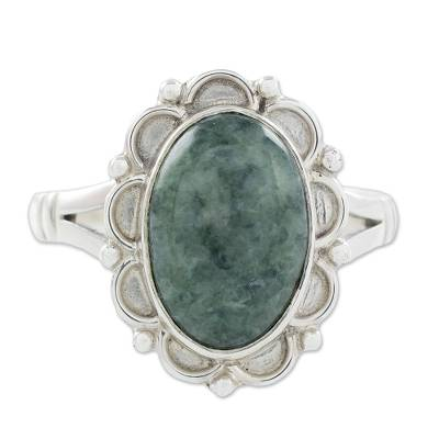 Guatemalan Hand Crafted Light Green Jade Ring