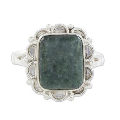 Guatemalan Dark Green Jade Cocktail Ring