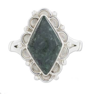 Jade cocktail ring, 'Dark Diamond Dahlia' - Guatemalan Handcrafted Dark Green Jade Ring