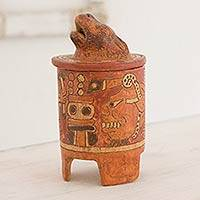 Ceramic vessel, 'Pibil Jaguar' (medium) - Antiqued Ceramic Vessel Maya Art (medium)