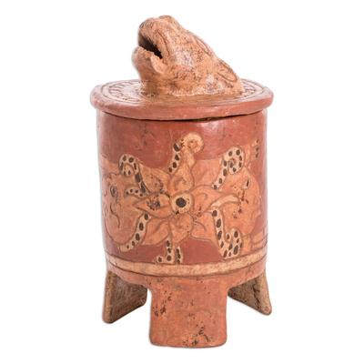 Antiqued Ceramic Vessel Maya Art (medium)