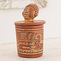 Ceramic vessel, 'Pibil Man' (small) - Handcrafted Ceramic Jar with Antiqued Finish