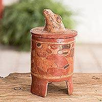 Ceramic vessel, 'Pibil Falcon' (large) - Antiqued Ceramic Vessel Maya Art (large)