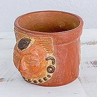 Ceramic decorative vase, 'Pibil King' - Handcrafted Ceramic Vase with Antiqued Finish