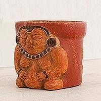 Ceramic decorative vase, 'Pibil Queen' - High Relief Decorative Ceramic Jar