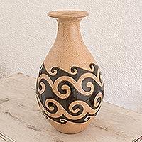 Ceramic decorative vase, 'Ocean Waves' - Fair Trade Hand Made Ceramic Decorative Vase Painted