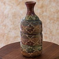 Ceramic decorative vase, 'Spiral Galaxy' - Nicaraguan Handmade Ceramic Bottle Shaped Decorative Vase