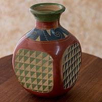 Ceramic decorative vase, 'Marine Experience' - Hand Crafted Ceramic Bottle Decorative Vase