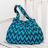 Cotton shoulder bag, 'Midnight Blue Zigzag'