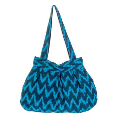 Cotton shoulder bag, 'Midnight Blue Zigzag' - Handcrafted Blue Cotton Shoulder Bag Lined