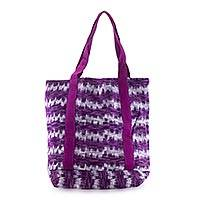 Cotton tote bag, 'Amethyst Twilight'