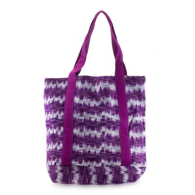 Cotton tote bag, 'Amethyst Twilight' - Purple Cotton Hand Woven Tote Shoulder Bag