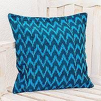 Cotton cushion cover, 'Blue Midnight' - Blue Zig Zag Patterned Cushion Cover