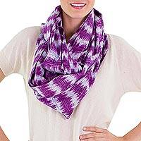 Cotton infinity scarf, 'Amethyst Twilight'