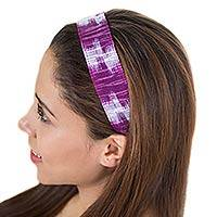 Cotton headband, 'Amethyst Twilight' - Guatemalan Cotton Headband
