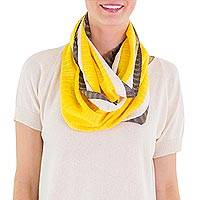 Cotton infinity scarf, 'Yellow Comalapa Breeze' - Handcrafted Cotton Infinity Scarf