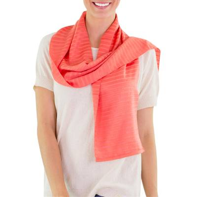 Cotton scarf, 'Tropical Fruits' - Handcrafted Orange Cotton Scarf