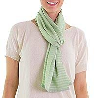 Cotton scarf, 'Mint Highlands' - Hand Woven Green Cotton Scarf