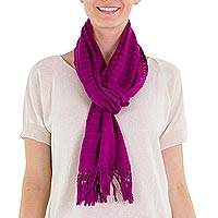 Cotton scarf, 'Pitaya' - Hand Woven Fuchsia Cotton Scarf