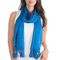 Cotton scarf, 'Ocean Freshness'