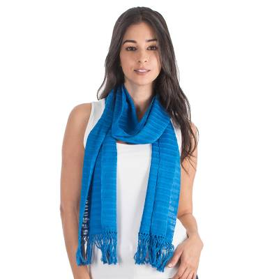 Cotton scarf, 'Ocean Freshness' - Blue Cotton Hand Woven Scarf
