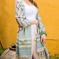 Cotton shawl, 'Verdant Comalapa Breeze' - Handwoven Striped Cotton Shawl