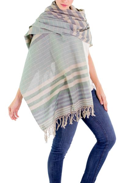 Cotton shawl, 'Verdant Comalapa Breeze' - Handwoven Striped Cotton Shawl