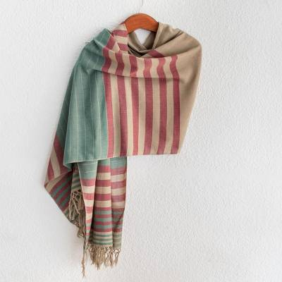 Cotton shawl, 'Maroon Comalapa Breeze' - Handwoven Striped Cotton Shawl