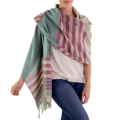 Cotton shawl, 'Maroon Comalapa Breeze' - Handwoven Striped Cotton Shawl
