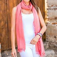 Cotton scarf, 'Rosewood Romance' - Hand Dyed and Woven Cotton Gauze Scarf