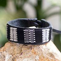 Men's leather and cotton wristband bracelet, 'Light of the Stars' - Men's Leather Black and Gray Handwoven Bracelet