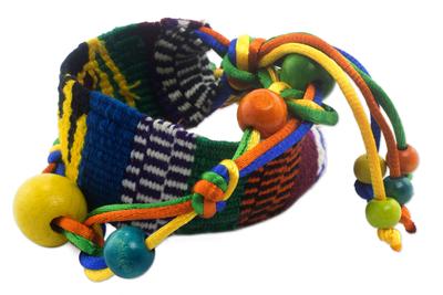 Guatemalan Handwoven Cotton Bracelet with Beads