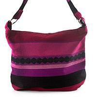 Cotton shoulder bag, 'Luscious Purple'