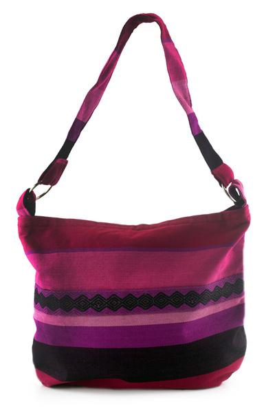 Cotton shoulder bag, 'Luscious Purple' - Handcrafted Cotton Shoulder Bag Lined