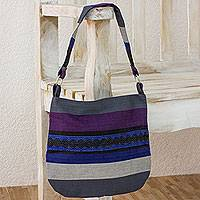 Cotton shoulder bag, 'Luscious Gray' - Guatemalan Cotton Shoulder Bag Lined