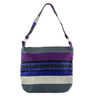 Cotton shoulder bag, 'Luscious Gray' - Guatemalan Cotton Shoulder Bag Lined