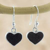 Volcanic ash heart earrings, 'Corazon' - Hand Crafted Volcanic Ash and Sterling Silver Hook Earrings